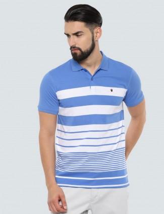 LP blue stripe polo neck mens t-shirt