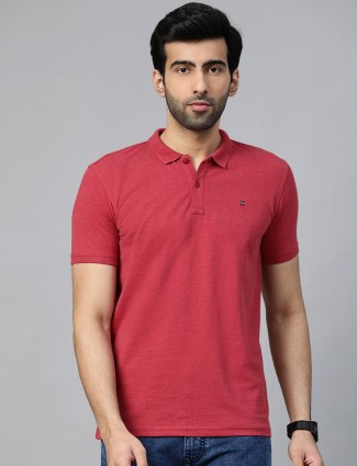 LP casual wear maroon solid t-shirt