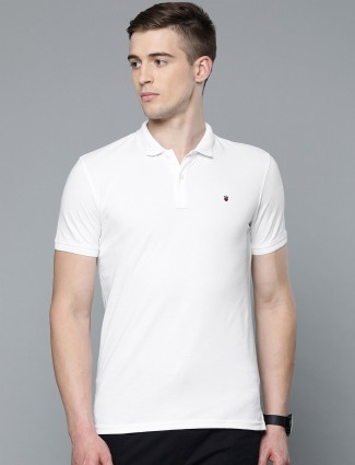 LP casual wear solid white t-shirt