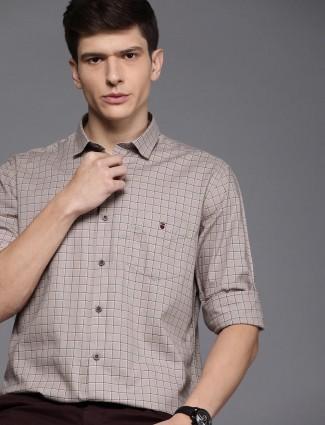 LP checks beige slim fit shirt