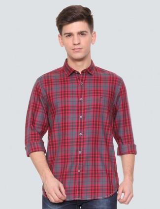 LP grey and red checks shirt