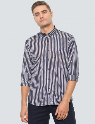 LP navy stripe cotton casual cotton shirt