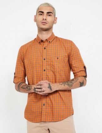 LP orange checks buttoned down collar shirt