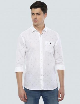 LP presented white polka dot shirt