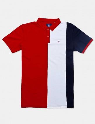 LP red stripe cotton casual t-shirt