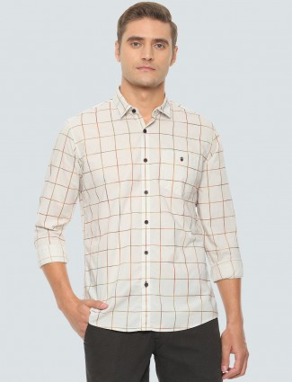 LP Sport cream checks cotton mens shirt