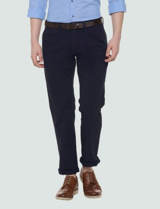 LP Sport navy hued solid cotton trouser