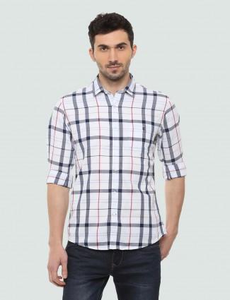 LP Sport white checked pattern shirt