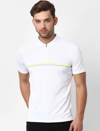 LP Sport white solid polo neck t-shirt