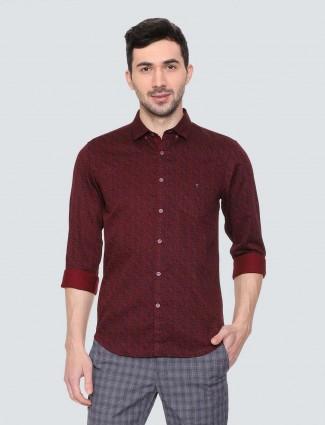 LP Sport wine maroon printed shirt