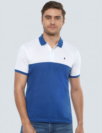 LP white and blue solid polo t-shirt