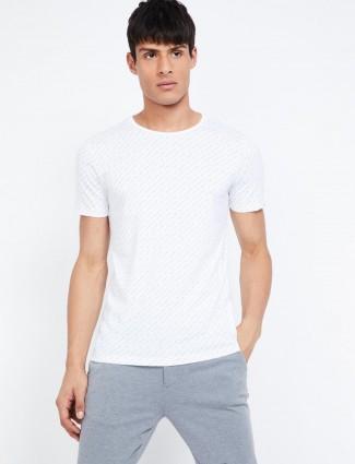 LP white printed round neck t-shirt