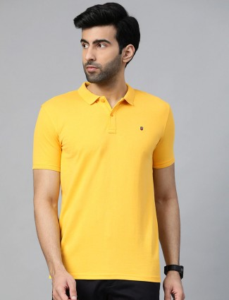 LP yellow solid cotton mens t-shirt