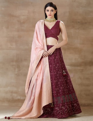 Lucknowi wine maroon lehenga in georgette