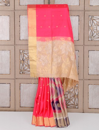 Magenta and beige color silk saree
