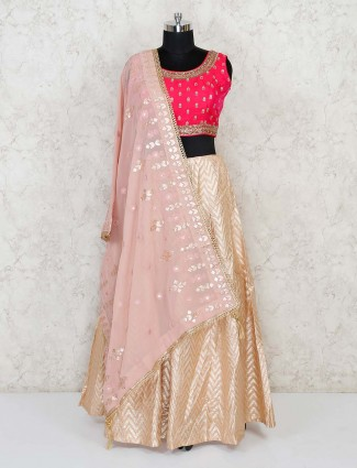 Magenta and beige cotton silk lehenga choli for wedding