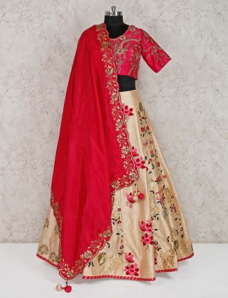 Magenta and beige raw silk premium lehenga choli