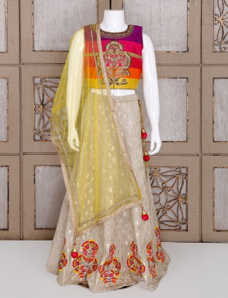 Magenta and beige silk choli suit