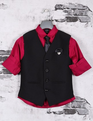 Magenta and black terry rayon waistcoat