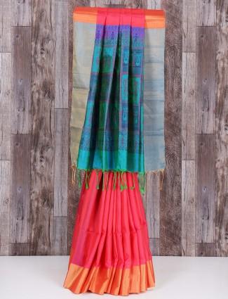 Magenta and blue classy silk saree