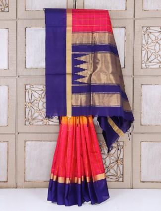 Magenta and blue kanjivaram silk saree