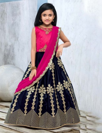 Magenta and blue lehenga choli for wedding