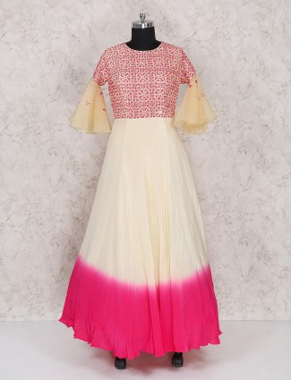 Magenta and cream color anarkali suit
