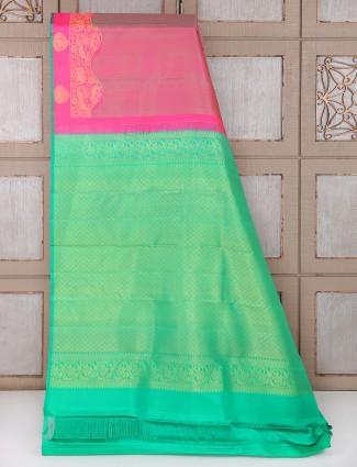 Magenta and green color silk bridal saree