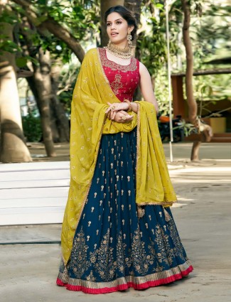 Magenta and navy georgette wedding lehenga choli