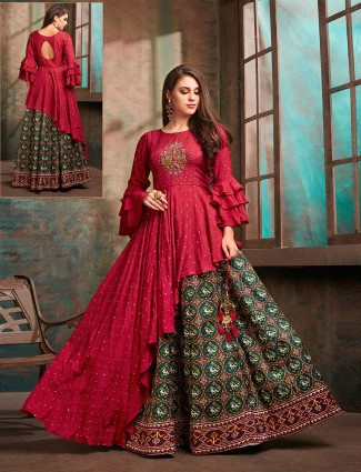 Magenta and green patola silk designer lehenga suit