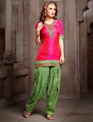 Magenta and green punjabi suit