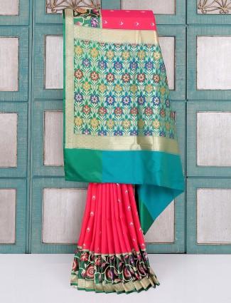 Magenta and green silk saree for wedding