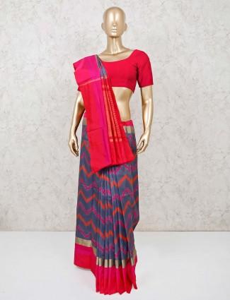 Magenta and navy blue Hyderabadi patola silk saree for festival