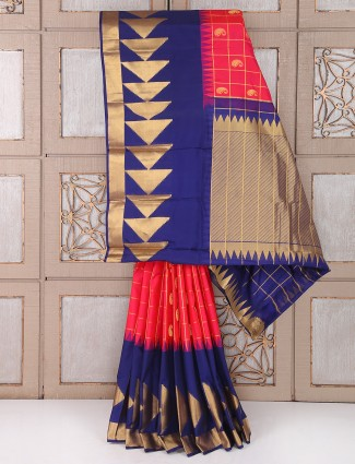 Magenta and navy color silk saree