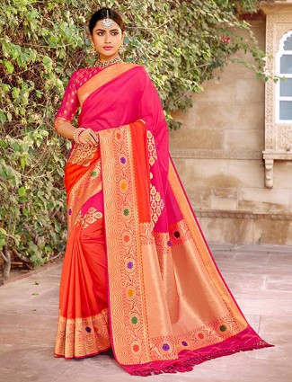 Magenta and orange half n half banarasi silk saree