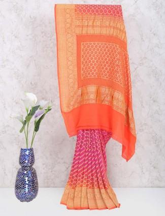 Magenta and orange shaded gharchola georgette saree