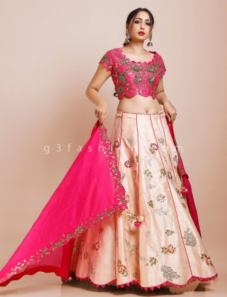 Magenta and peach silk lehenga choli for wedding