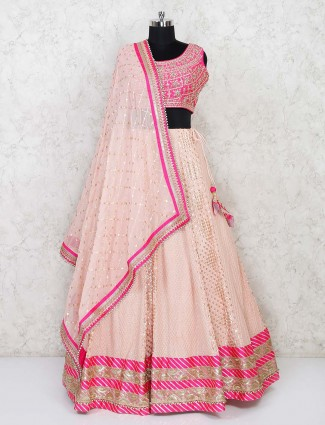 Magenta and peach wedding lehenga choli