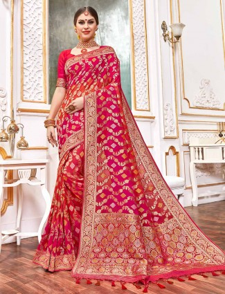 Magenta and red bandhej georgette saree for weddings