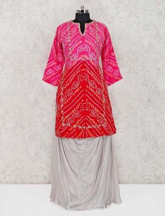 Magenta and red bandhej lehenga suit