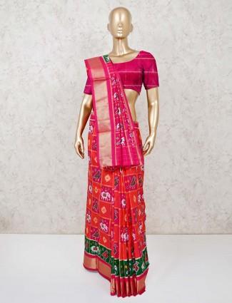 Magenta and red ikat thread weaving Hyderabadi patola silk saree