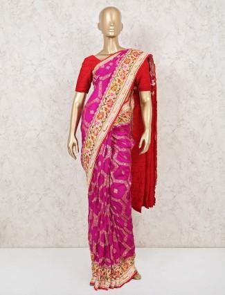 Magenta and red munga silk saree