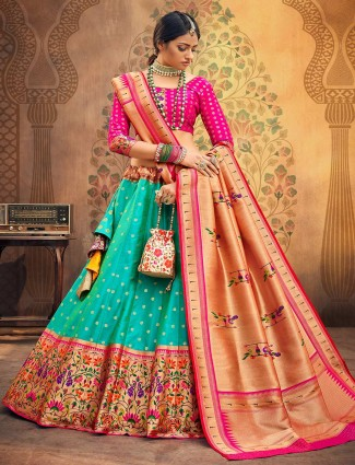 Magenta and sea green banarasi silk semi stitched lehenga choli