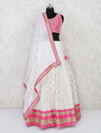 Magenta and white lucknowi wedding lehenga choli