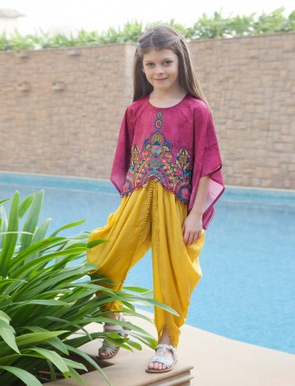 Magenta and yellow hue designer dhoti suit