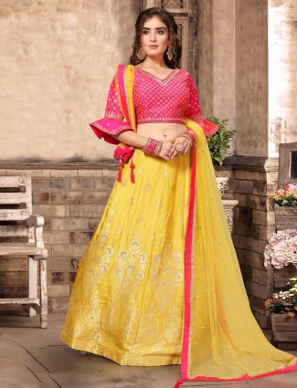 Magenta and yellow raw silk wedding lehenga choli