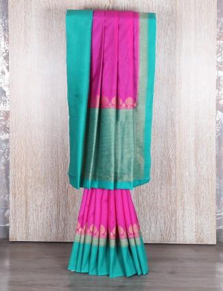 Magenta aqua bhagalpuri silk saree