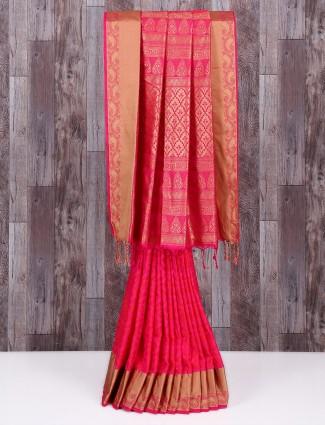 Magenta attractive wedding wear saree