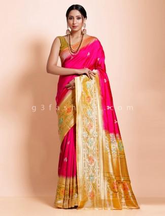 Magenta banarasi silk designer latest indian saree