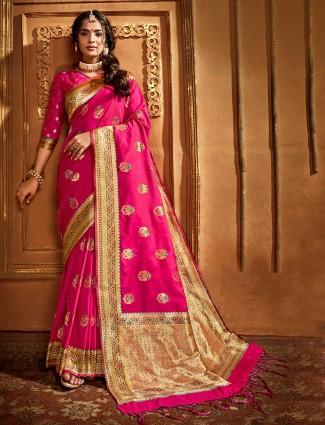 Magenta banarasi silk saree for wedding days